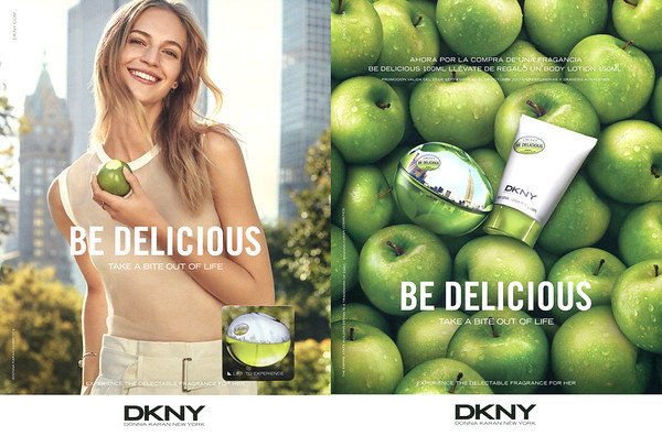 DONNA KARAN DKNY Be Delicious 2017 Spain recto-verso with scent sticker  'Take a bite out of life - Lift to experience - Experience the delectable  fragrance for her - Ahora por la cpmpra de una fragancia de Delicious 100 ml llévate de regalo un Bpdy Lotion 150 ml'