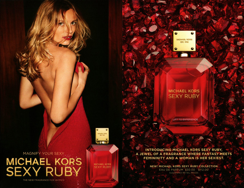 MICHAEL KORS Sexy Ruby 2017 US (recto-verso card 11 x 17 cm with  scent patch) 'Magnify your sexy - The new fragrance for women'<br /> <br /> MODEL:  Edita Vilkeviciute, PHOTO: Mario Testino