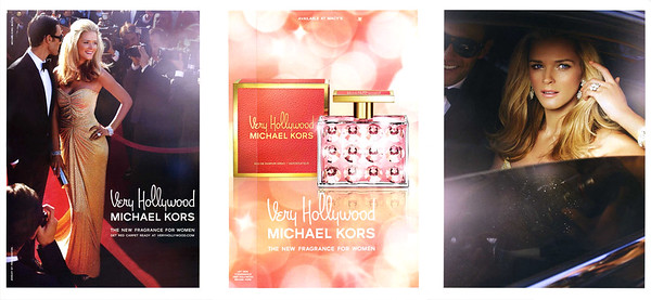 Kors Very Hollywood 2009 US (Macy's stores) 3 pages (recto-verso with scent strip +simple page) 'The new fragrance for women - Get red carpet ready at veryhollywood.com'