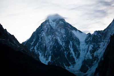 We were up at dawn to leave for base camp.  In retrospect it might have been too late a start since we got bad weather later in the day but since there are no forecasts, it is tough to predict.  Here the early morning light gives a bluish tinge to Gasherbrum IV.