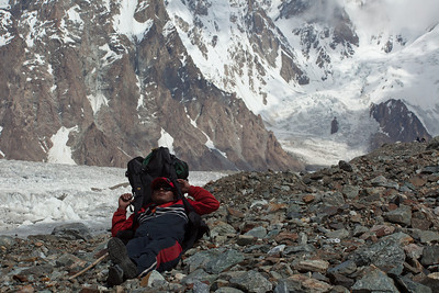 Ibrahim rests at Broad Peak Base Camp.  There are a number of those which have moved over the years depending on the expeditions paths.