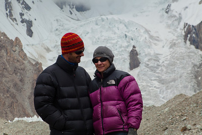 In front of the start of Godwin Austin Glacier.