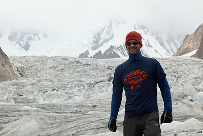 Rich wanted to enter a photo competition for his local hardware store for wearing a shirt in the most unusual location.  Here he is in front of the base of K2.