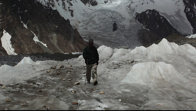VIDEO - Murad walks down the Godwin Austen Glacier towards Concordia.  You can see the level surface and how the pea sized gravel made for a surface that had good traction for your boots.