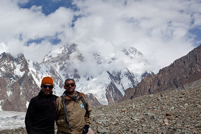 me and Adil in front of K2.  Adil was getting a severe headache at this point, a clear symptom of altitude sickness.  The only cure is to go down in altitude.  We convinced him to head towards camp while we went on a little further.