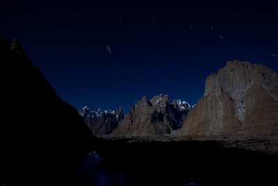I was so tempted to not take any pictures but knew I would regret it later so I did a long exposure of theTrango Towers in the moonlight with the starts streaked over a long exposure.