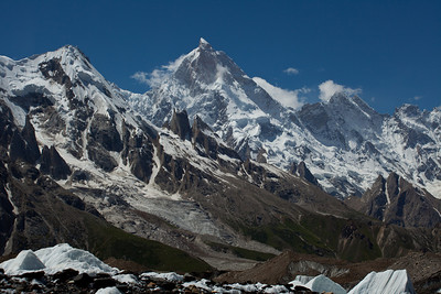The crooked peak of Masherbrum, 25,659 ft peak, the 22nd highest mountain in the world.  It was orginally labelled K1 when it was spotted from a hundred miles away, but once the local name was discovered, the K1 designation was removed.