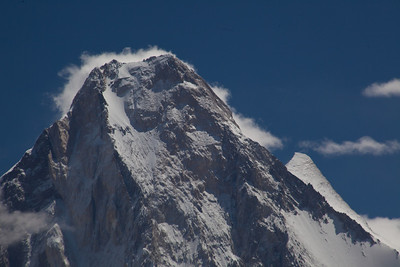Gasherbrum IV with Gasherbrum III peeking out from the back.  Since it is attached to Gasherbrum II, it is considered a sub-peak.