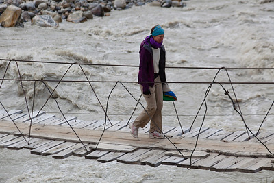 Erin crosses the river at Jhula.