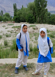 Two students on their way home.