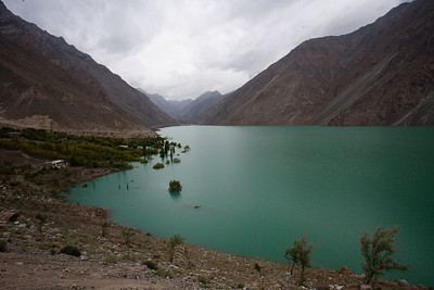 Satpara lake.  It is a natural lake but one end is being raised to increase the depth of the lake.  Already a bunch of trees are partially submerged.