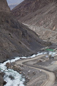 The water coming out of the spillway of the dam leading down towards Skardu.