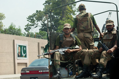 An army patrol out on the streets of Rawalpindi.