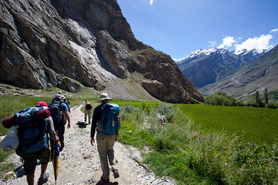 We walk through the fields of Askole towards our second camp site, Korophon.