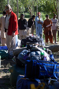 The luggage lined up in THungol.  Ayub is still trying to figure out which people he will pick for porters.