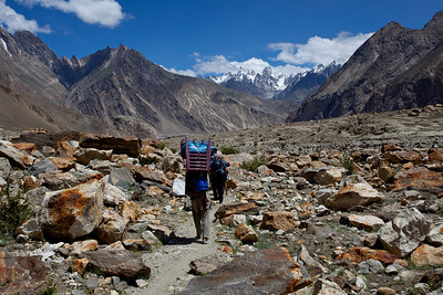 Marching towards Baltoro.  Even in the far distance we cannot see the big mountains we would come accross later.