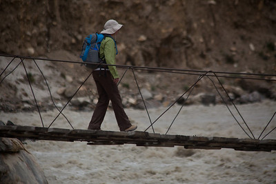 Linda carefully going across at Jhula.  This bridge was more stable than the last one.