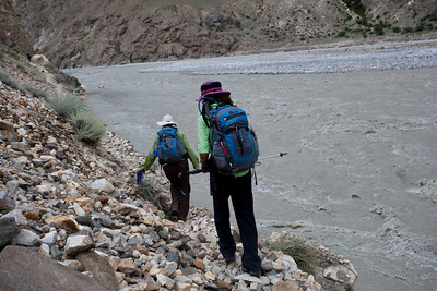 Still skirting the river.  It was significantly higher than Ayub had ever seen it.  There was a whole cliff before Sam Tsok that had been wiped away.
