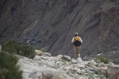 Tanya heads along the cliffs.
