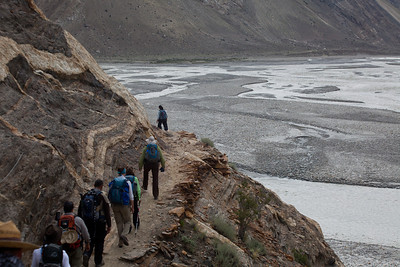 In previous times, trekking parties used to ford the river and many people lost their lives.  A bridge was finally made at Jhula but this addes a couple of hours to the route.