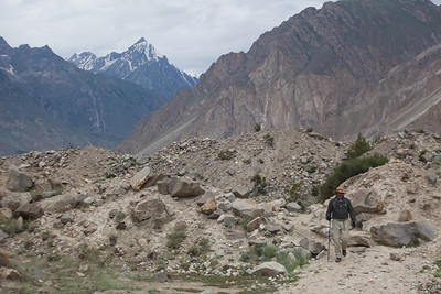 Matthew comes up on the trail out of Korophon.  The rubble is from the moraine of the Biafo Glacier, one of the longest glacial systems in the world.