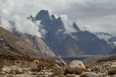 We finally see the Baltoro and the Trango group looming behind.