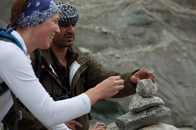 Erin and Adil building a cairn for future reference.