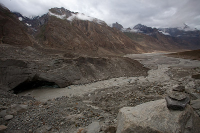 The meeting of the glacier and the river.
