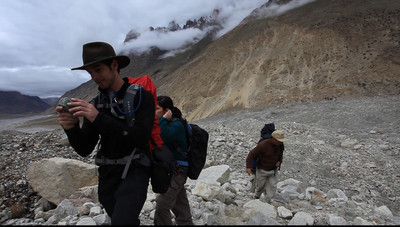 VIDEO - Jeff examines rocks.  Anisa would pick them up and make other people carry they for her.