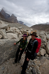 """Jeff and Anisa take a short break.  Ayub was a great guide and had his pulse on how we were doing.  We had paired up into """"buddies"""" so that an experienced climber was paired with an inexperienced one.  But a lot of times, you were within sight of each other, so it wasn't necessary to be side by side."""