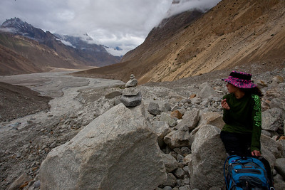 Anisa looks over as the newly formed Braldu River makes it way downstream.