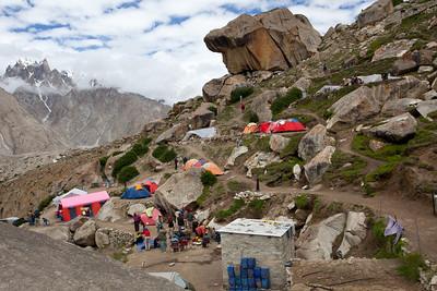 The Urdukas campsite perched high above the glacier.