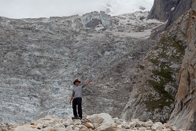 We cross one of the smaller glaciers merging with the Baltoro.  Jeff looks like he is almost under the glacier but it is almost a thousand feet higher.