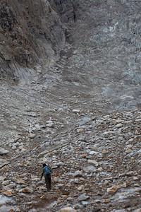 Navigating the tributary glacier.