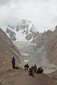 Biale Glacier and Biale Peak behind the giant rock at Urdukas.