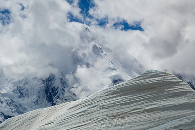 Snow pyramid in fromt of Masherbrum, a 25,651 foot mountain originally known as K1 until people realized that it had already been named.