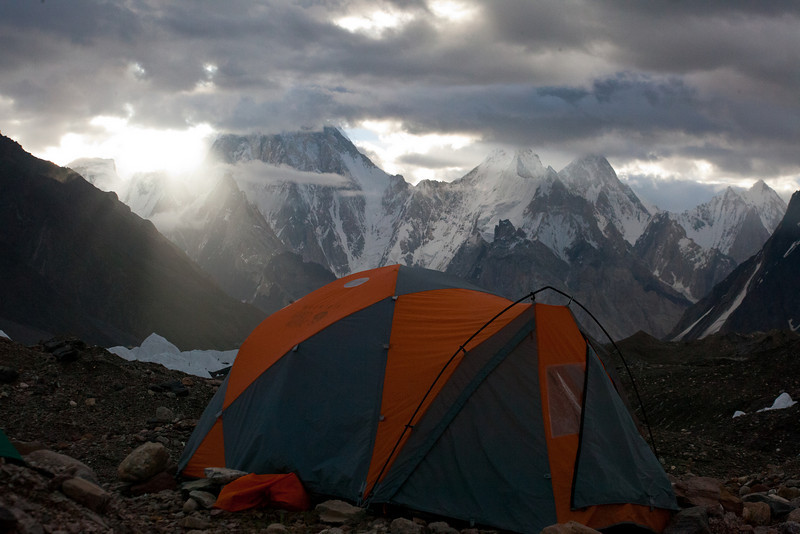 Dawn over our camp in Gore II with Gasherbrum IV in the background.