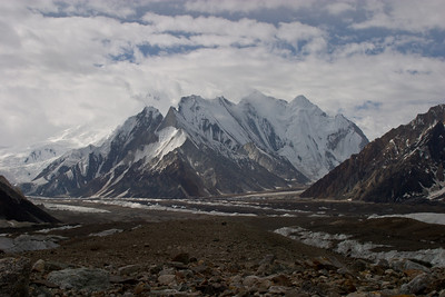 The view back down the valley toward Concordia (camp) and Chogolisa (mountain).  Vigne Glacier goes to the right, Baltoro Glacier continues to the left.