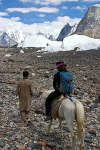 Anisa and Burraf, the inseperable pair, making their way up the glacier.