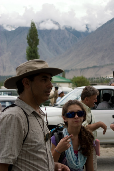 Our first try for the Islamabad Skardu flight was foiled by a cancellation for bad weather.  Our second try is successful however.  Our creaky old 737 complained a lot in the hard bank turns through the mountain valleys, but it got us there safely.  Anisa and Dad at the Skardu airport.