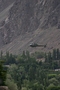 While we were waiting, Army helicopters flew into the valley.