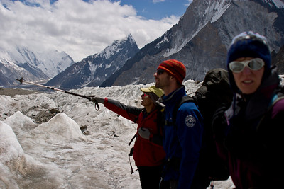 Khalil points out the ascent path up Broad Peak.