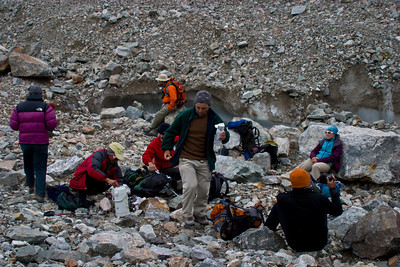 We hit our turn-around deadline still two hours short of K2 Base Camp.  Sad, but safety dictates we head back.  We take a short break for lunch.  More tea, crackers, chapati, and cheese.