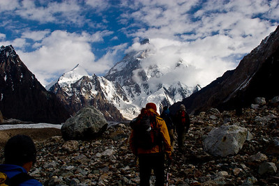 The start of our day hike north up the Godwin-Austin Glacier to K2.  Our schedule called for a trip up to K2 and back on the same day, roughly 14 hours of hiking all, so we left bright and early at 5am.