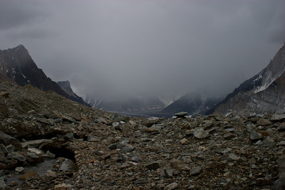 We were concerned because heavy weather was starting to roll in.  This was the view back down the valley toward Concordia.  We were worried about getting caught in a storm on the way back, so we set ourself a turn-around deadline, whether we got to Base Camp or not.