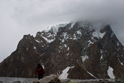 A climber coming down from K2 Base Camp.