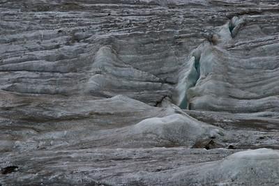 A crevasse in the glacier.