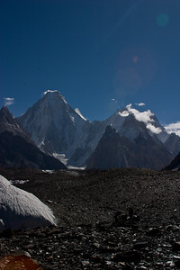 Looking back up the valley toward Concordia, the Gasherbrum summits.  G IV, II and V from left to right.  G II is just peaking out from behind the shoulder of G IV.