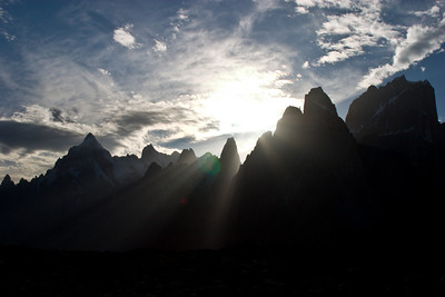 Sunset over the Trango Towers.  Almost to Urdukas.  (Yes, the sun is setting and we're not even into camp yet.  Longest day ever.)