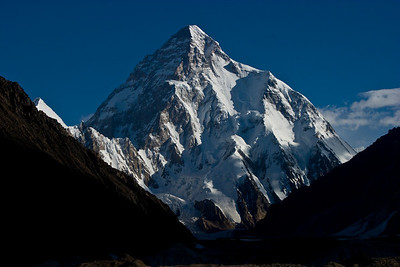 Fortunately the morning was remarkably clear.  The clouds had cleared out overnight and the whole surrounding range was completely bare.  K2 after sunrise.